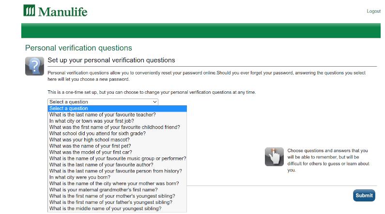 personal verification question